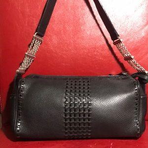 Brighton Black Leather with Silver Shoulder Bag